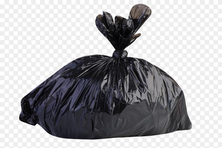 Big black plastic of trash bag on transparent background PNG