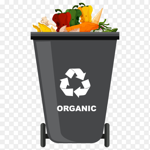 Black Trash bin with recycle symbol on transparent background PNG