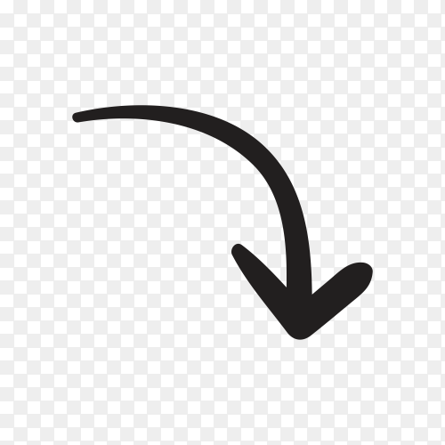 Black doodle arrow icon on transparent PNG