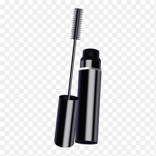 Black mascara, eye makeup brush on transparent background PNG