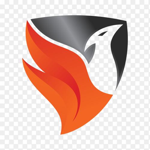Black orange bird flame shield logo icon on transparent background PNG