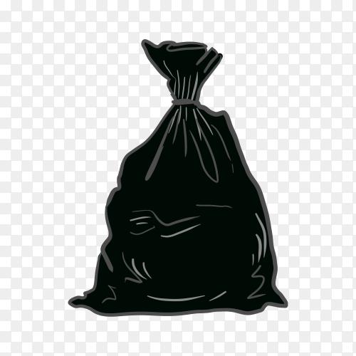 Black plastic trash isolated on transparent background PNG
