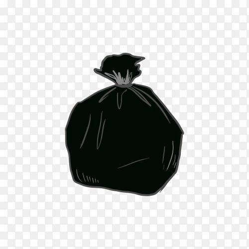 Black plastic trash on transparent background PNG
