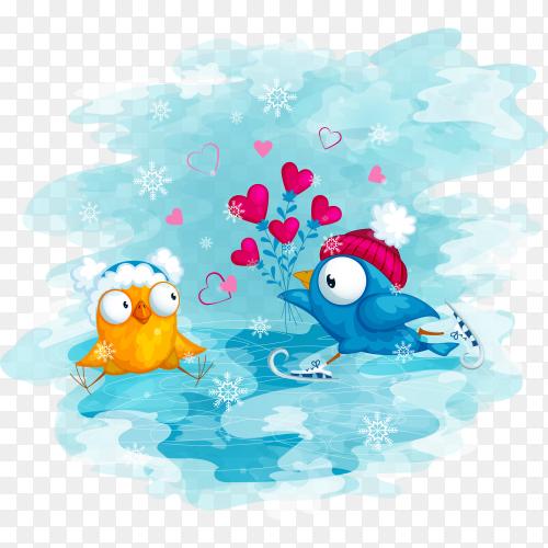 Blue bird on skates  on transparent background PNG
