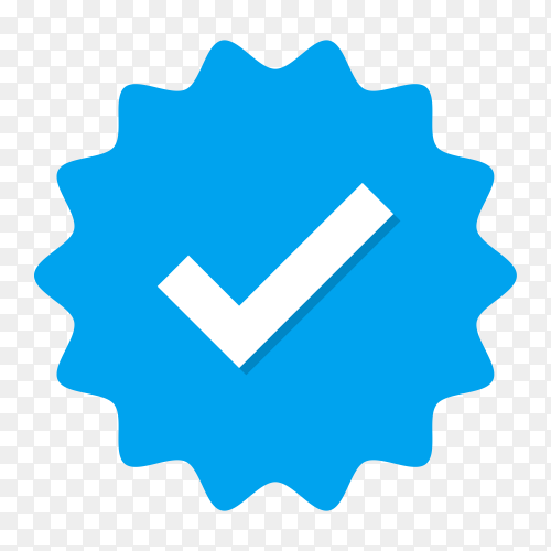 Blue check mark icon design on transparent background PNG