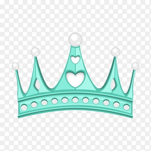 Blue crown in flat design on transparent background PNG
