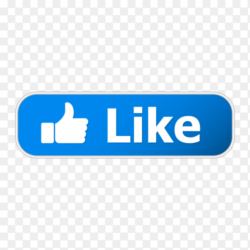Blue like button with metal frame and shadow on transparent background PNG
