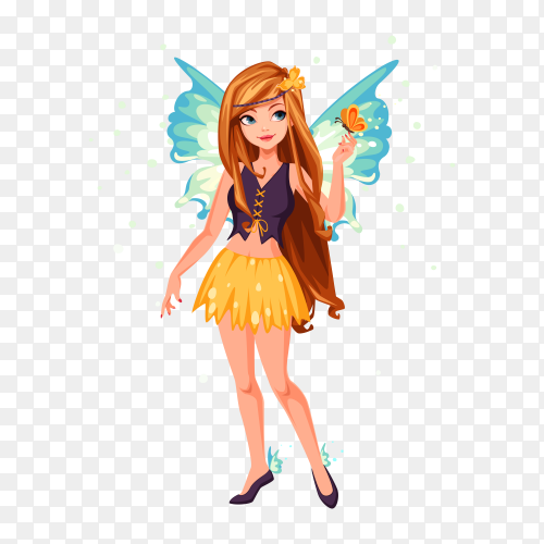 Blue wings fairy on transparent background PNG