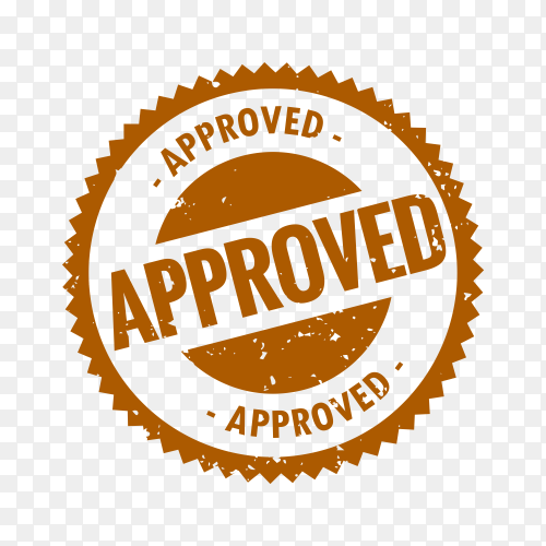 Brown Approved stamp in rubber style on transparent background PNG