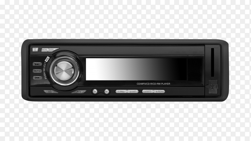 Car audio player isolated on transparent background PNG