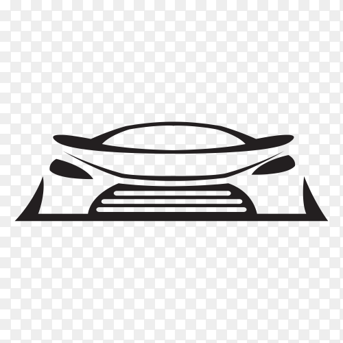 Car concept with black silhouette on transparent PNG
