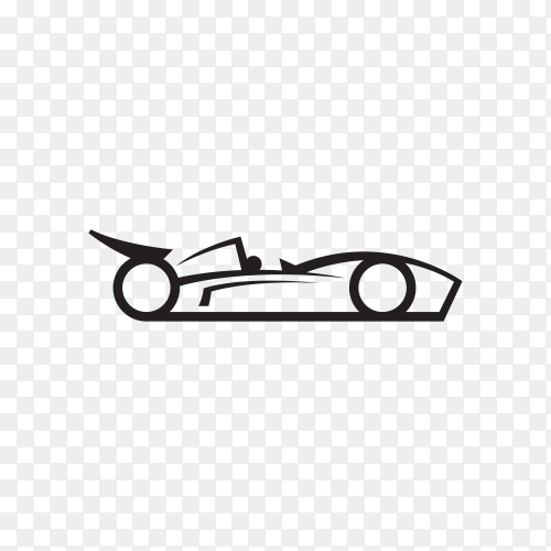 Car concept with black silhouette on transparent background PNG