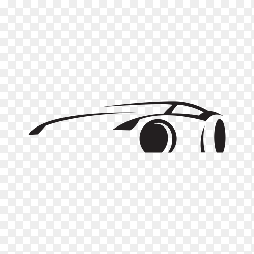 Car concept with black silhouette premium vector PNG