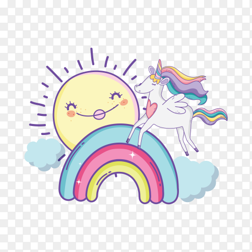 Cartoon character of unicorn standing on rainbow on transparent background PNG