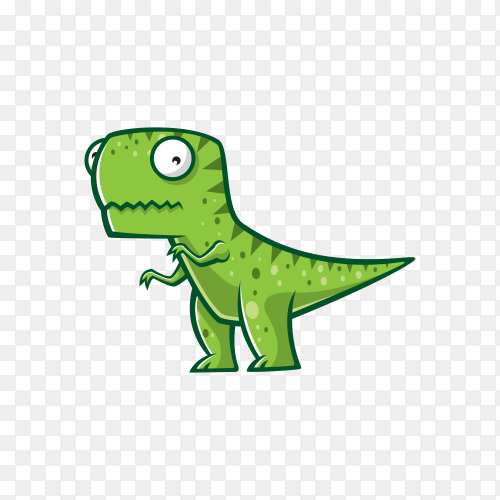 Cartoon dinosaur was standing with two legs on transparent background PNG
