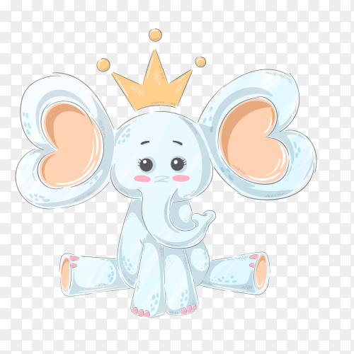 Cartoon elephant character on transparent background PNG