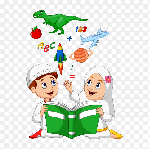 Cartoon Muslim kids reading book education concept on transparent background PNG