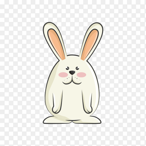 Cartoon rabbit character on transparent background PNG