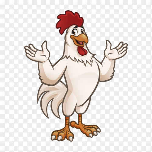 Cartoon rooster  isolated on transparent background PNG