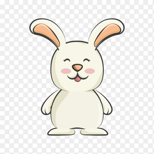 Cartoon smiling rabbit isolated on transparent background PNG