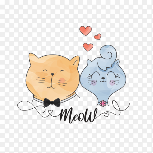 Cat cute couple watercolor on transparent background PNG