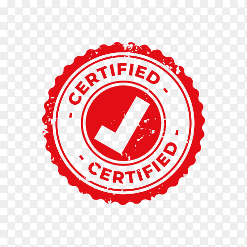 Certified and approved rubber stamp on transparent background PNG