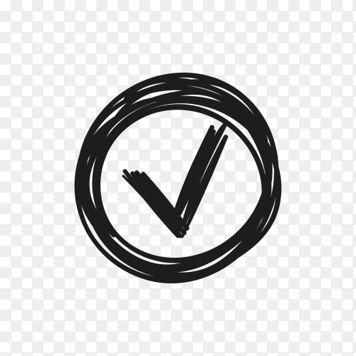 Check Mark Icon in Circle on transparent background PNG