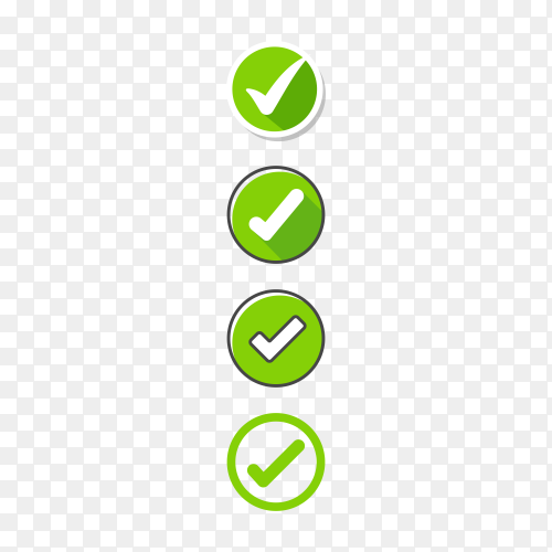 Check mark button on transparent PNG