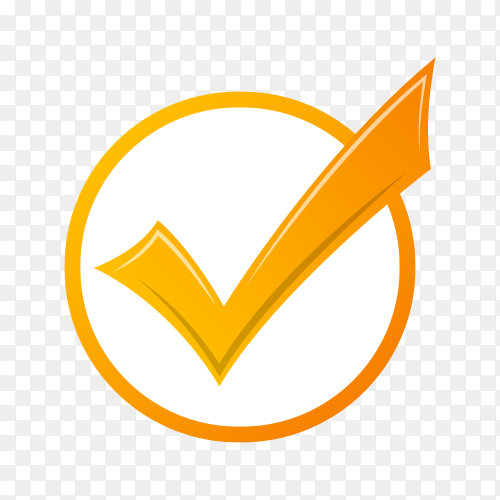 Check mark icon on transparent PNG