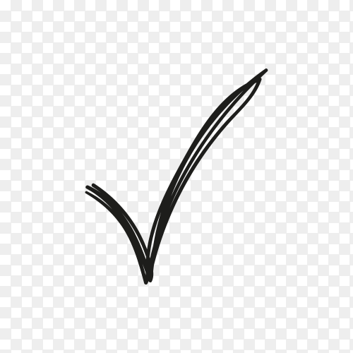 Check mark icon on transparent background PNG