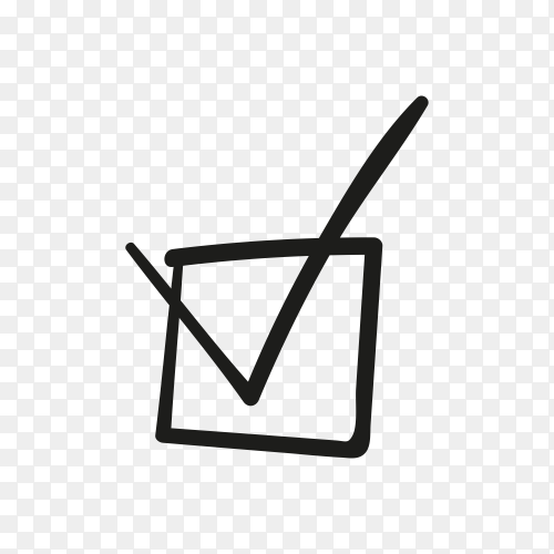 Check mark or tick sign in box on transparent background PNG