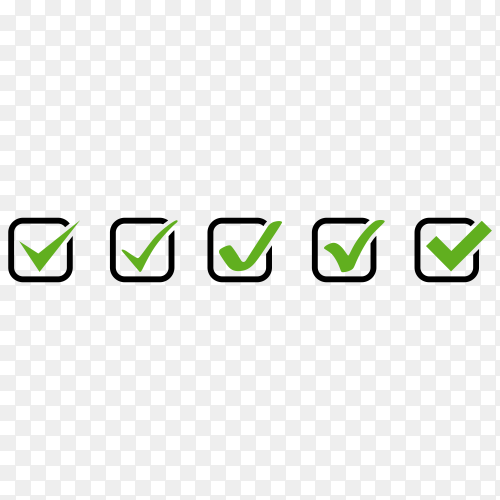 Check marks icons on transparent background PNG