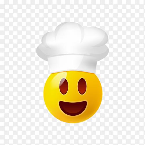 Chef hat emoji face on transparent background PNG