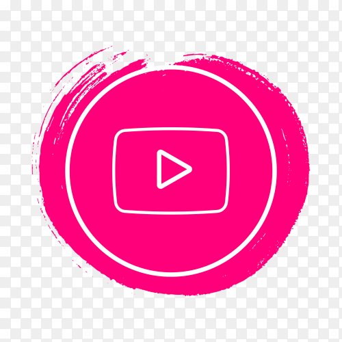 Circle YouTube icon design on transparent background PNG