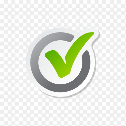 Circle tick mark approved Icon Illustration. Checkmark icon on transparent background PNG