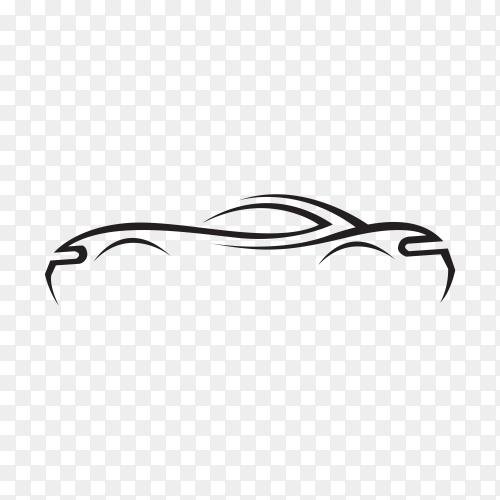 Concept black car silhouette on transparent PNG