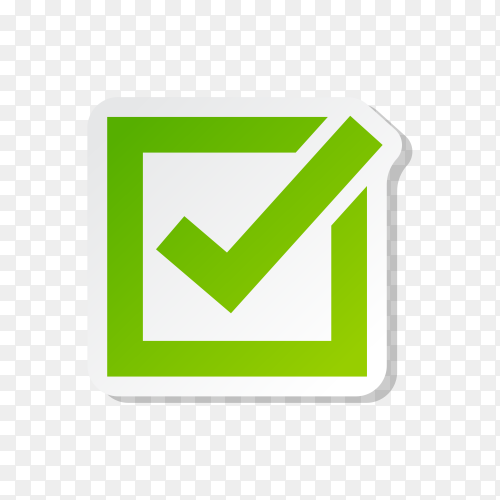 Correct button icon. Check mark in box sign on transparent background PNG