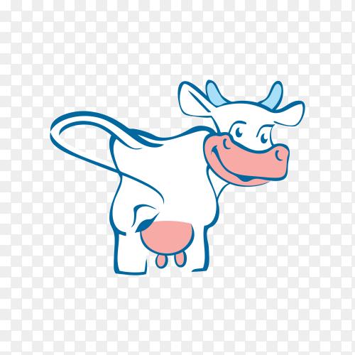 Cow smiling cartoon illustration on transparent background PNG
