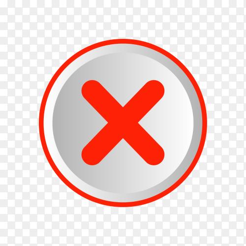 Cross mark sign premium vector PNG