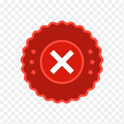 Cross red icon isolated on transparent background PNG