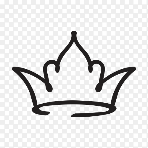 Crown Hand drawn logo graffiti icon on transparent background PNG