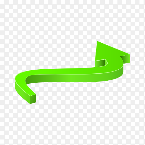 Curved green arrow icon on transparent background PNG