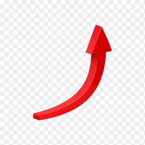Curved red 3d glossy arrow on transparent background PNG