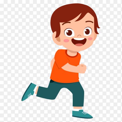 Cut cartoon happy boy on transparent background PNG
