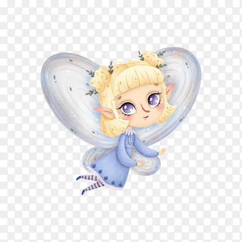 Cute cartoon little forest fairy with wings flies on transparent background PNG