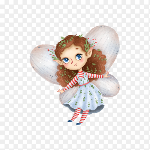 Cute cartoon little forest fairy with wings on transparent background PNG