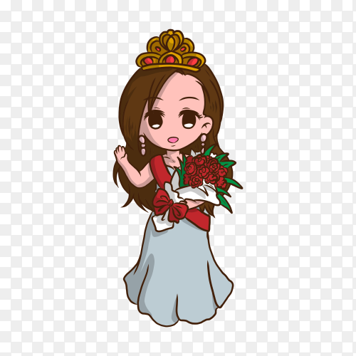 Cute cartoon princess with flowers on transparent background PNG