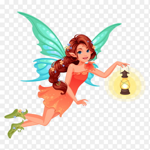 Cute little fairy with beautiful long braided hairstyle holding a lantern on transparent background PNG