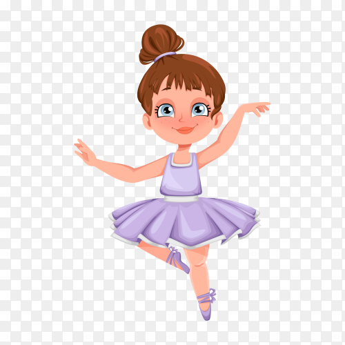 Cute little girl ballerina with watercolor illustration on transparent background PNG