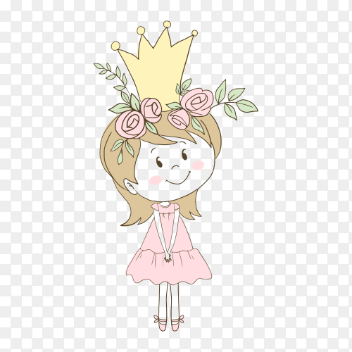 Cute little princess in pink dress on transparent background PNG